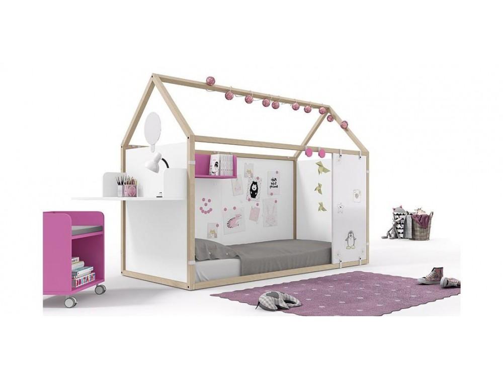 Panel alto para cama casita de 90x190cm en acabado pizarra blanca