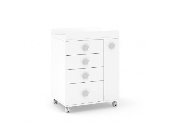 ROS Mueble cambiador Soft White con ruedas