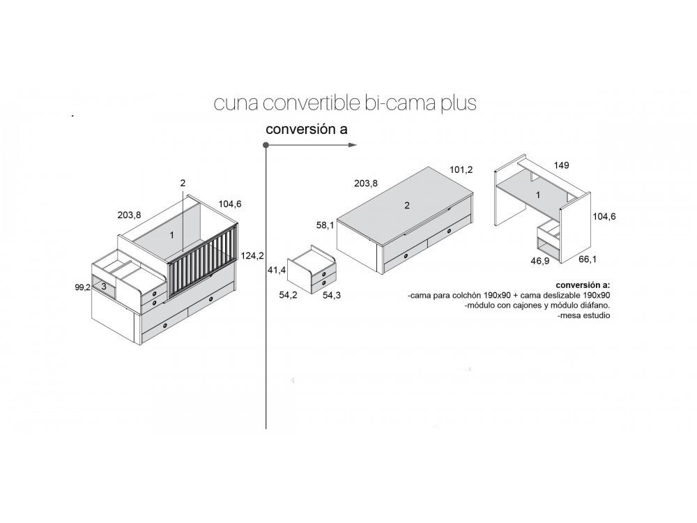 Medidas Cuna convertible Bicama plus personalizable