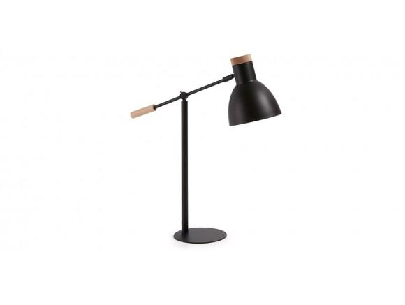 Lámpara de sobremesa de metal y madera con brazo articulado Scarlett