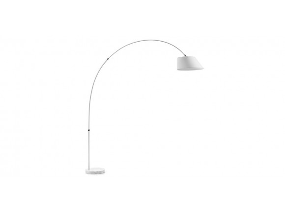 Lámpara de pie con brazo extensible de metal y base redonda de mármol Lee