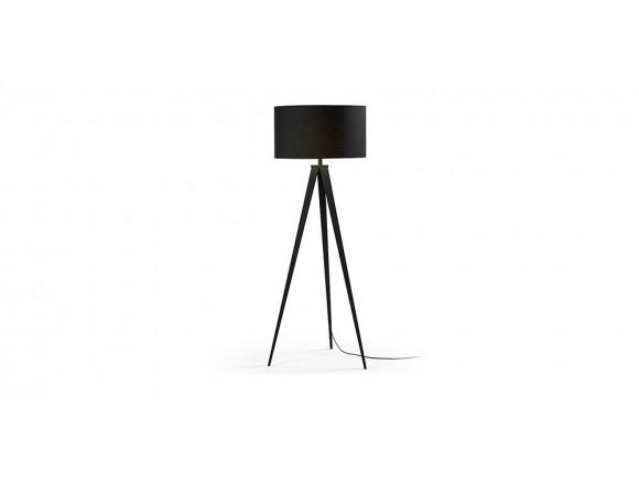 Lámpara de pie con pie trípode de madera o metal y pantalla de tela Uzagi
