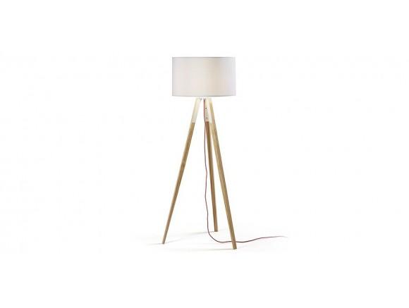 Lámpara de pie con pie trípode de madera y pantalla de tela Uzagi