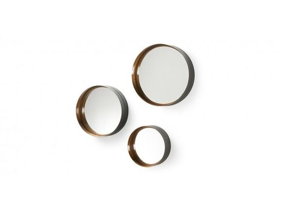 Set de tres espejos redondos con marco de metal Wilson