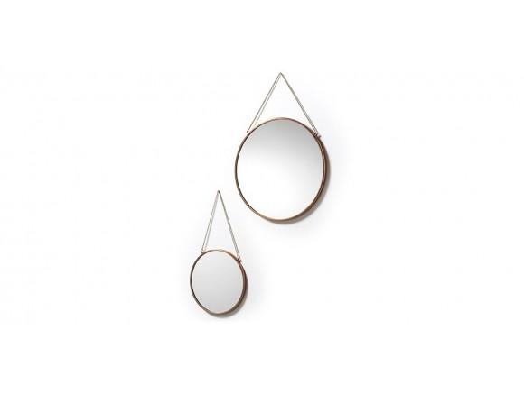 Set de dos espejos redondos con marco de metal y cadena Niko