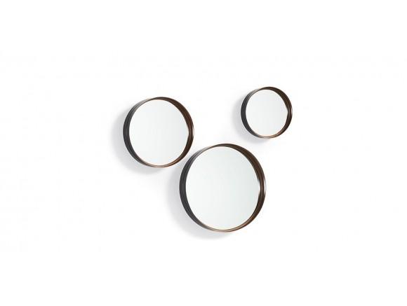 Set de tres espejos con marco de metal cobre envejecido Rem