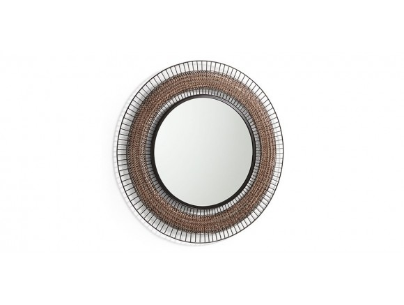 Espejo redondo con marco de varillas de metal cobre envejecido y negro Robil