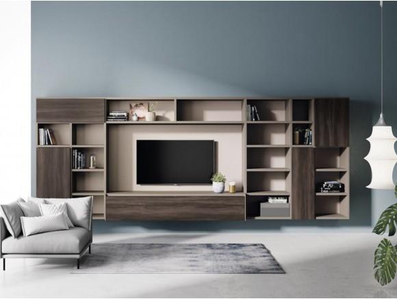 Mueble de salón suspendido con librería Addbox y AddLiving