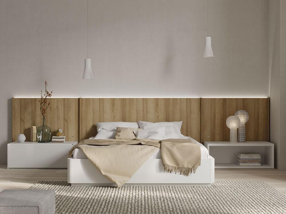 Dormitorio con cabecero modelo New Kandor en acabado golden
