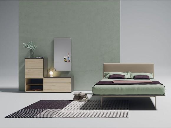 Dormitorio con cabecero modelo Flat tapizado en Natural Welness
