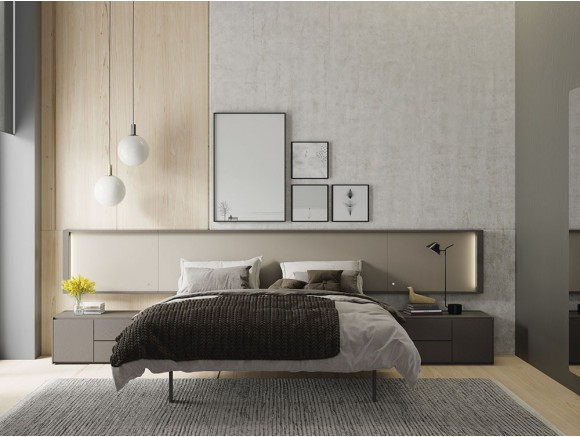 Dormitorio con cabecero modelo Homage colgado H50 en cendra y petra