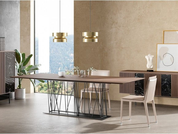 Mesa de madera de nogal y acero lacado Tarántula