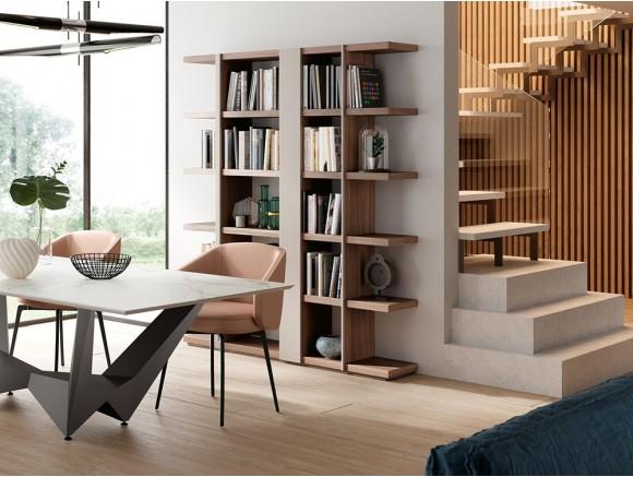 Librería abierta en madera de nogal Code