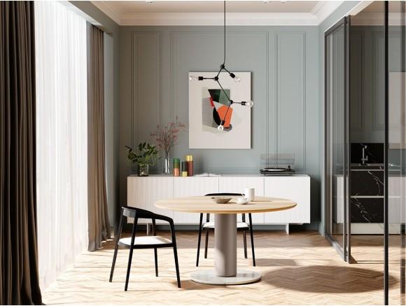 Mesa de comedor redonda, cuadrada o rectangular de madera de nogal Fly