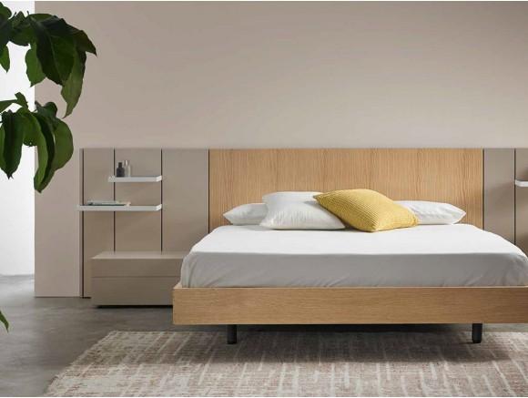 Dormitorio con cabecero Pars en madera de roble y lacado Mobenia - 1