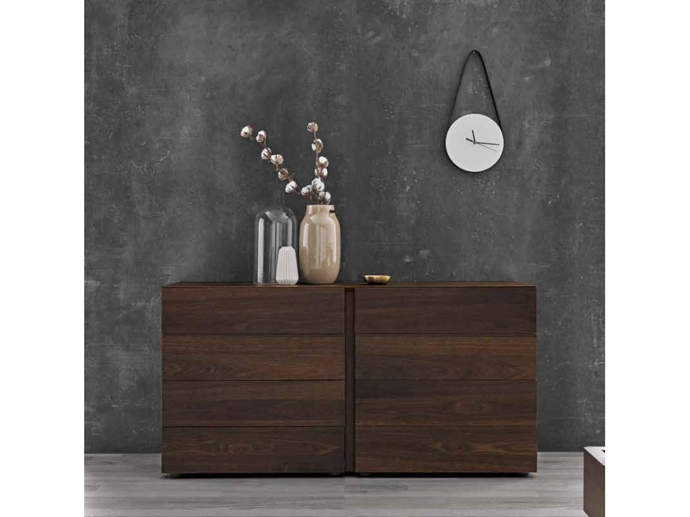 Dormitorio con cabecero de madera Mies en acabado Smoky Oak