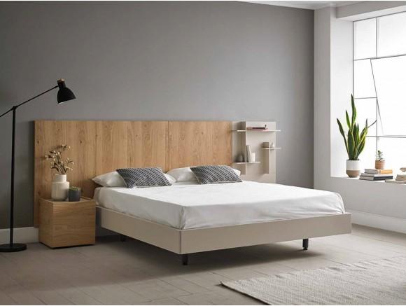 Dormitorio con cabecero modular de madera Doan