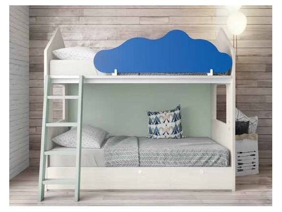 Litera casita con cajones y nube quitamiedos Origami