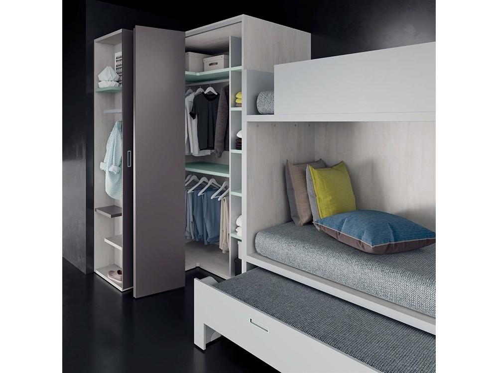 Litera dado con cama compacta, armario y zona de estudio Tegar en Mobel 6000