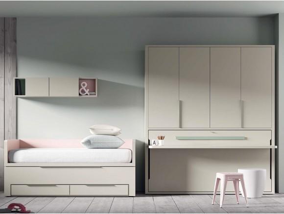 Dormitorio juvenil con cama compacta con deslizante y cama abatible con escritorio QBnext de Tegar en Mobel 6000