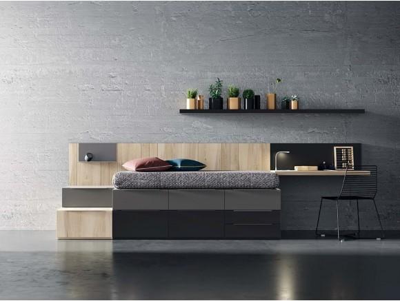 Dormitorio juvenil modular con cama apilable personalizable QB de tegar en Mobel 6000