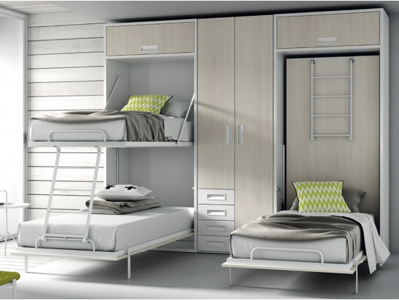 Dormitorio juvenil con cuatro camas en dos literas abatibles verticales QB de Tegar en Mobel 6000