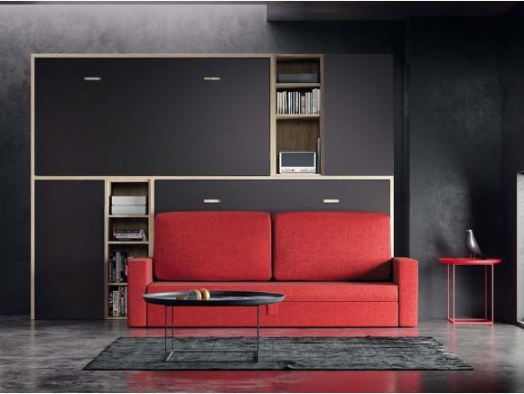 Dormitorio juvenil con litera tren abatible con sofá qb de tegar en Mobel 6000