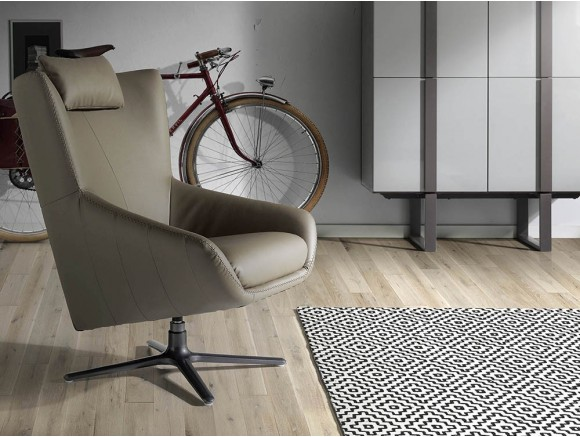 Sillón giratorio con pie de acero y asiento tapizado en piel sintética 5044 de Ángel Cerdá en Mobel 6000