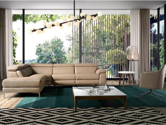 Sofá Rinconera 6042-6043 tapizada en piel color visón con mecanismo relax Harmony by Ángel Cerdá