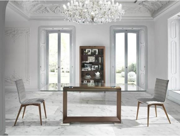 Mesa fija de comedor con pie en chapa nogal y acero pulido y sobre de cristal templado 1006 Harmony de Ángel Cerdá