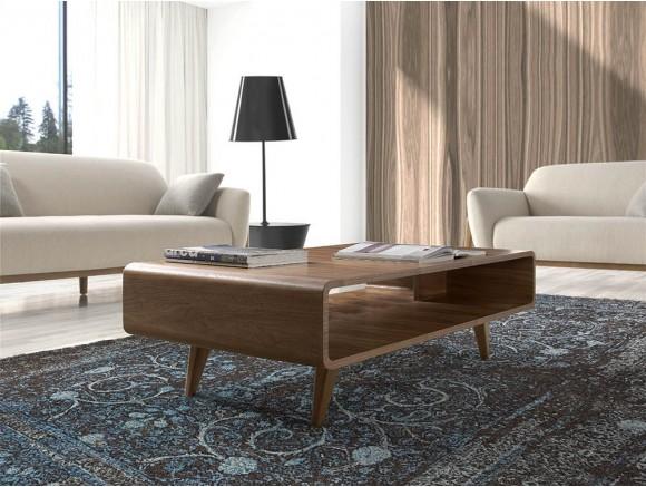 Mesa de centro de diseño retro 2021 en madera chapada en nogal de Ángel Cerdá en Mobel 6000