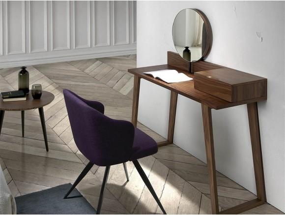 Tocador Atelier 7000 de madera chapada en nogal con espejo incorporado de la colección Harmony de Ángel Cerdá