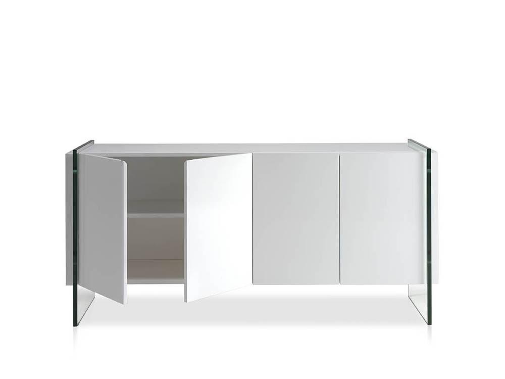 Aparador lacado en blanco brillo con laterales de cristal templado 3057 de Ángel Cerdá en Mobel 6000