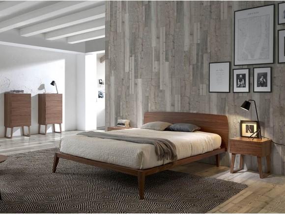 Dormitorio chapado en nogal con somier incluido 7015 Harmony de Ángel Cerdá en Mobel 6000