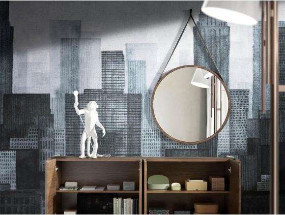 Espejo de pared redondo con marco chapa nogal 3038 de Ángel Cerdá en Mobel 6000