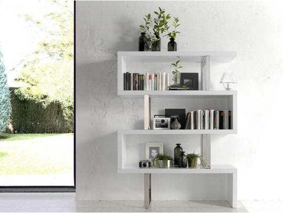 Libreria abierta lacada en blanco con estructura de acero cromado 3026 de Ángel Cerdá Harmony