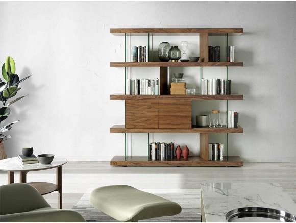 Librería chapada en nogal combinada con cristal templado 3072 Ángel Cerdá Harmony en Mobel 6000