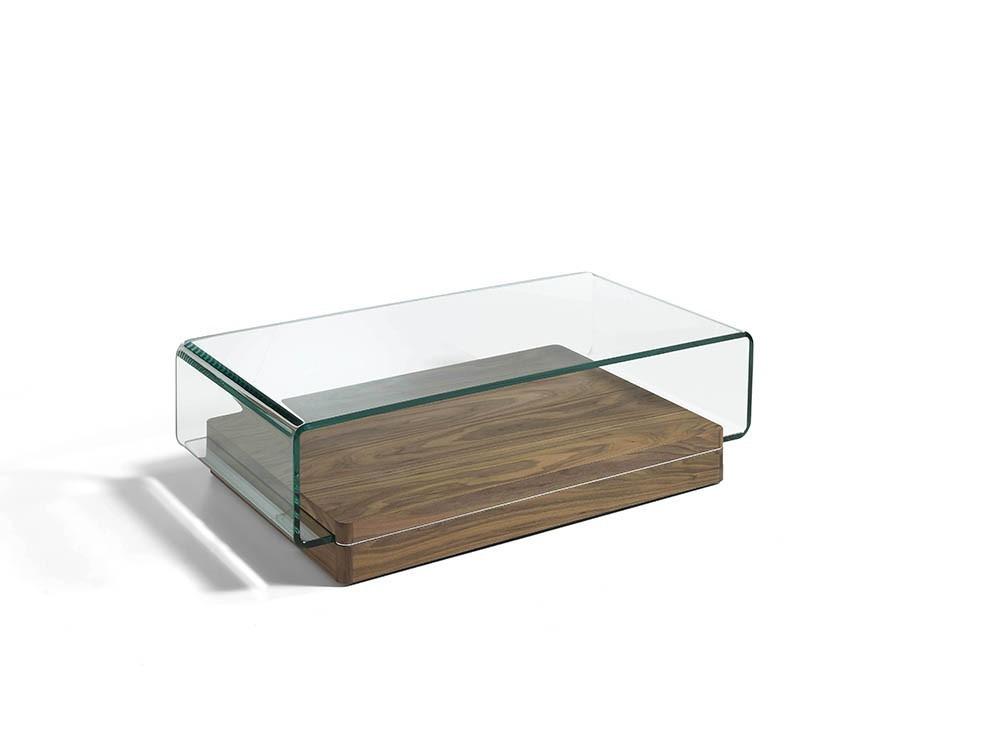 Mesa de centro con base chapada en nogal y sobre de cristal templado curvado 2004 Harmony de Ángel Cerdá