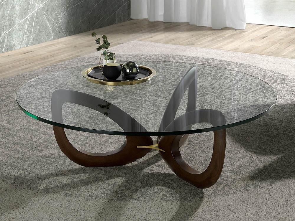 Mesa de centro redonda de cristal templado con pies de madera 2053 de Ángel Cerdá Harmony