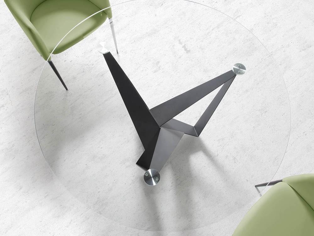 Mesa de comedor redonda con base de acero negro y sobre de cristal templado en varias medidas 1045