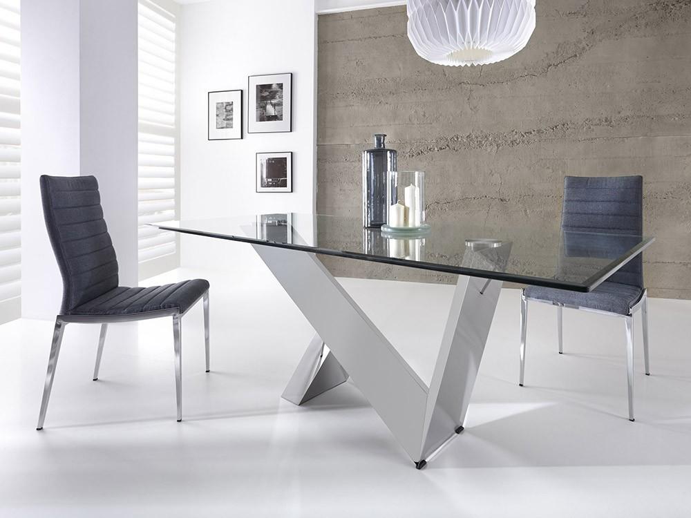 Mesa de comedor con base de acero cromado y sobre de cristal templado 1038 Harmony de Ángel Cerdá