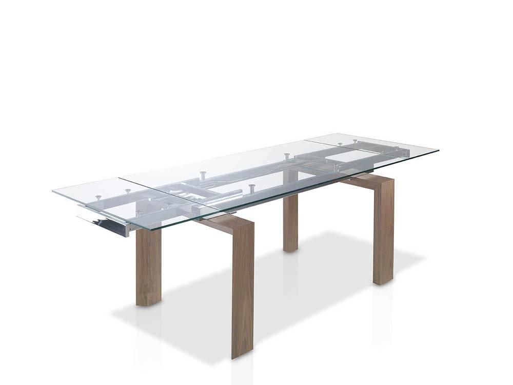 Mesa extensible de comedor con pies chapados en nogal y sobre de cristal templado 1007 de Ángel Cerdá
