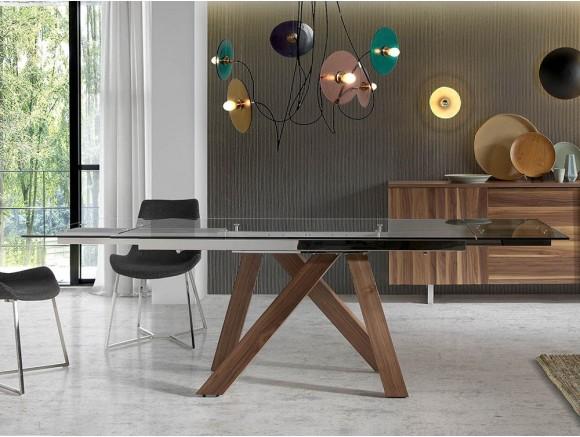 Mesa de comedor extensible con pies de madera y sobre de cristal templado 1011 harmony de ángel cerdá