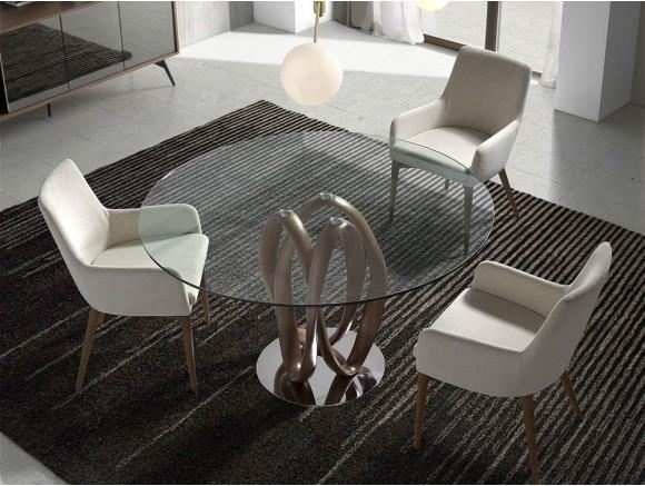 Mesa redonda de comedor con base de acero, pie de madera torneada y sobre de cristal templado 1021 de Ángel Cerdá