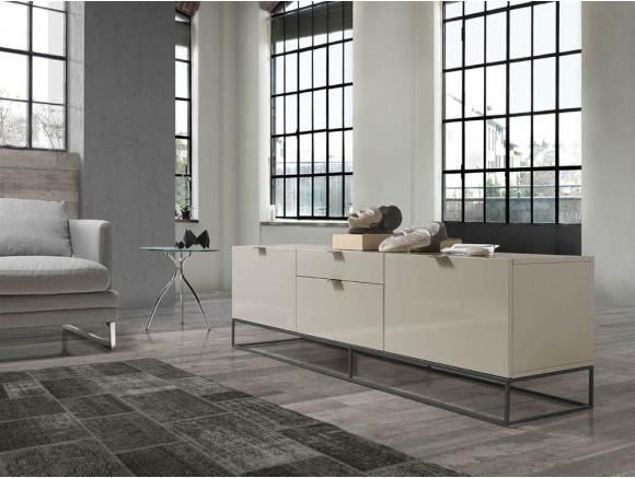 Mueble para tv lacado en gris perla con estructura de acero negro 3041 Harmony de Ángel Cerdá