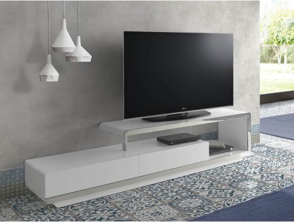 Mesa de televisión lacado en blanco brillo con acero cromado 3042 Harmony de Ángel Cerdá