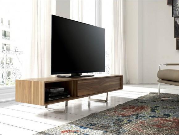 Mueble para tv chapado en nogal natural con pies de acero cromado 3043 Harmony de Ángel Cerdá
