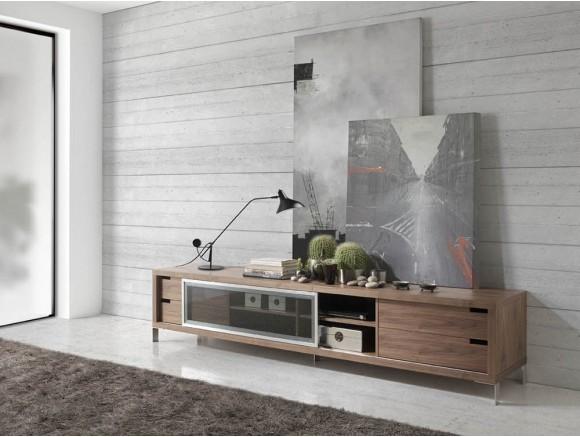 Mesa de televisión chapado en nogal natural con cuatro cajones y una puerta corredera de cristal 3044 Ángel Cerdá