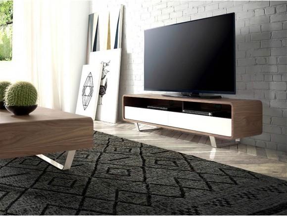 Mueble de televisión chapado en nogal  con frentes lacados en blanco brillo y pies de acero cromado 3046