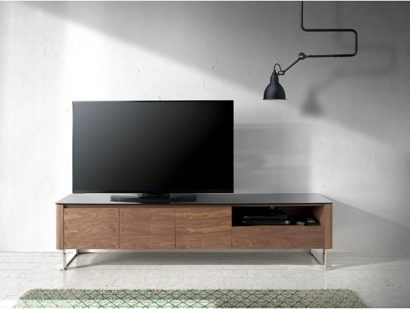 Mueble para tv chapado en nogal natural con tapa de cristal templado negro 3047 Harmony de Ángel Cerdá